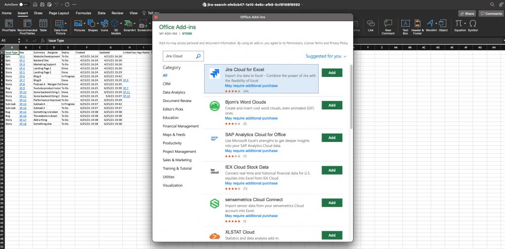 Screenshot of Jira Cloud for Excel add-in
