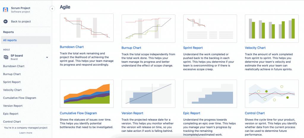 Screenshot of all agile reports