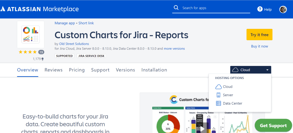 Atlassian Marketplace hosting on Cloud, Server or Data Center.