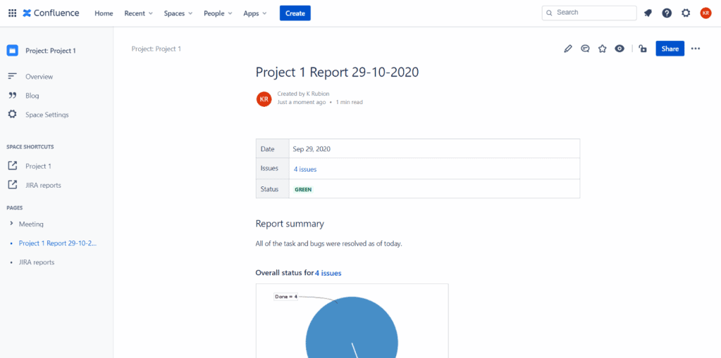 Jira Project Report in Confluence