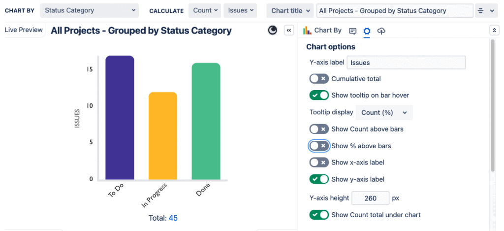 Custom Charts Jira bar chart without labels