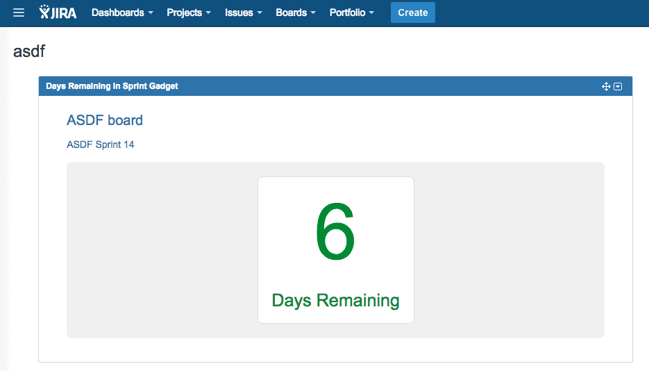Days Remaining in Sprint Gadget