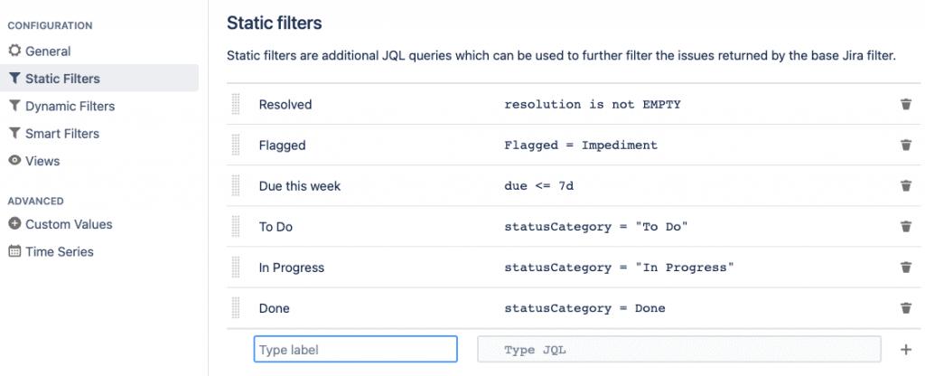 Static Filters for Jira screenshot
