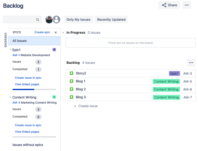 Backlog of an epic for Agile reporting in Jira