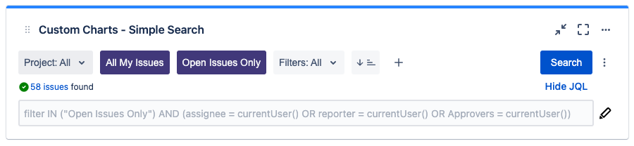 Screenshot of Custom Charts Simple Search