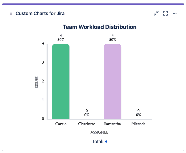 Screenshot of Team Workload in Custom Charts