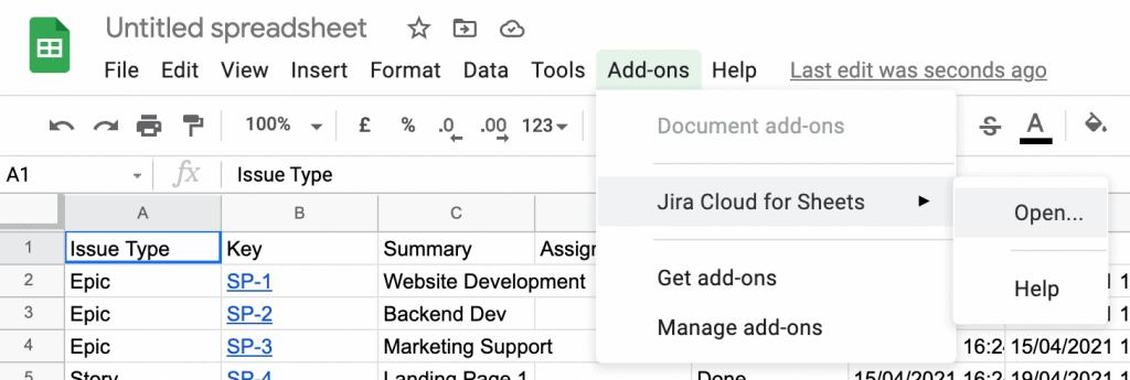 Screenshot of opening Jira Cloud for Sheets