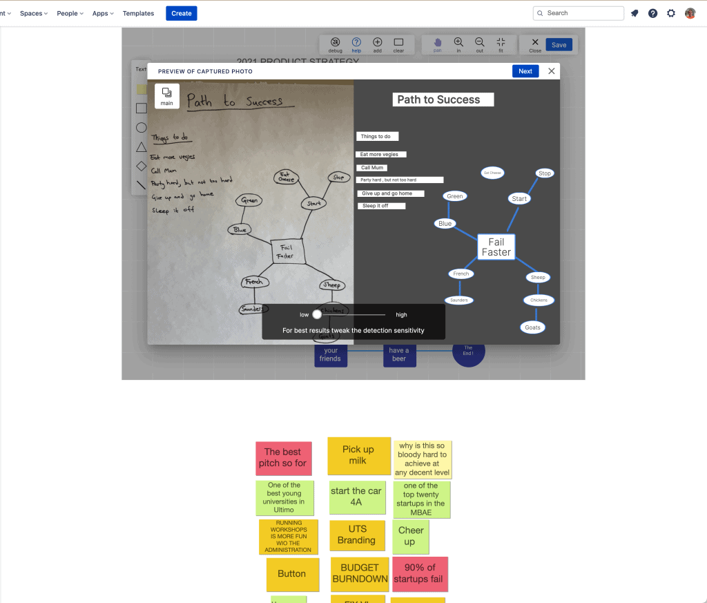 Screenshot showing diagram detection in Brainstorm Boards for Confluence